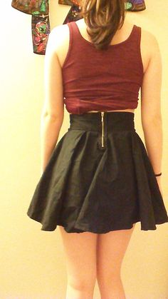 I made this circle skirt using a black bed sheet and a zipper that I cut out of an old shirt. This is the first piece of clothing I made from scratch.  Here is the link to the DIY video that I used:  http://www.youtube.com/watch?v=6rtZXF-CY08