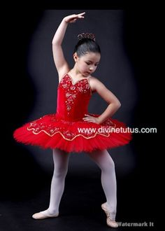 Stretch red velvet with red and gold sequined lace by Divine Classical Ballet Tutus