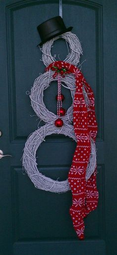 Snowman Door Wreath Decorations http://priddycreations.com/blog/2011/12/18/another-holiday-pinterest-project-grapevine-snowman-door-wreath/
