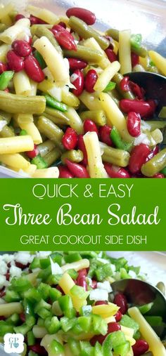 quick and easy recipe for Three Bean Salad, a favorite, old fashioned picnic and barbecue side dish. Green beans, waxed beans and kidney beans marinated in a sweet dressing.