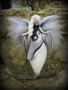 Ying Yang Needle Felted Wool angel by LivelySheep on Etsy Wool Dolls, Felt Dolls, Needle Felted Animals, Felt Animals, Felt Angel, Needle Felting Tutorials, Felt Fairy, Fairy Dolls, Wool Felt
