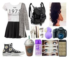 """""""Walk in NY"""" by cami-balan ❤ liked on Polyvore featuring Converse, Joes, Wet Seal, Victoria's Secret, Forever 21 and Eos"""
