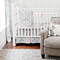 How pretty is this pink and gray baby bedding???  Love the scrolls too!