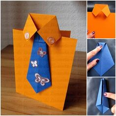 """<input class=""""jpibfi"""" type=""""hidden"""" >Father's day is coming! Are you looking for craft ideas to make a nice handmade gift? Here is a super cute idea to make a tie and shirt themed greeting card. It is very easy to make and requires only simple materials. Handmade Greetings, Greeting Cards Handmade, Diy Father's Day Cards, Unique Christmas Cards, Father Christmas, Diy For Men, Father's Day Diy, Fathers Day Crafts, Masculine Cards"""