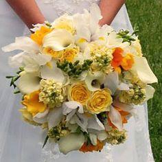 dahlias, cala lilies, roses, freesias, and delphinium bouquet wedding | Bouquet « Bollea – Floral Design Gallery