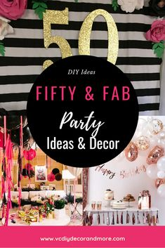 Birthday Ideas for Women Turning Themes & Decorations - VCDiy Decor And More birthday ideas for women turning 50 to create the best 50 and fabulous birthday party. These fifty fabulous decorations are affordable and amazing. 50th Birthday Themes, 50th Birthday Party Decorations, 50th Birthday Invitations, 55th Birthday, Adult Birthday Party, 50th Party, 50th Birthday Gifts, Birthday Woman, Women Birthday