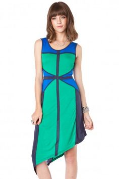 COLORBLOCK POINT DRESS IN IVY