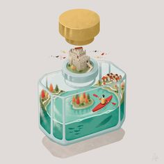 TENNO: Illustration of November from the illustrated calendar commissioned by Graffiti2000 based on the most wonderful places located in the northern Garda lake. Art direction: Francesco Della Torre - Graffiti2000 #parfum #bottle #italy #gardalake #tenno #lake #water #kayak #autumn