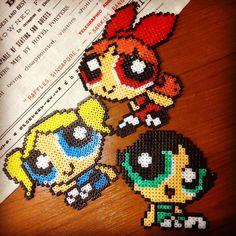 The Powerpuff Girls perler beads by Perler Beads, Perler Bead Mario, Fuse Beads, Powerpuff Girls, Pony Bead Projects, Cartoon Network, 8bit Art, Melting Beads, Beaded Cross Stitch
