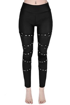 Killstar Pretty Vacant Leggings Awesome matte finish faux leather leggings from Killstar! The gorgeous Pretty Vacant leggings feature spike studded and o-ring straps down the length of each leg. A wi. Leggings Mode, Crop Top And Leggings, Sports Leggings, Printed Leggings, Leggings Fashion, Cheap Leggings, Nike Outfits, Sporty Outfits, Punk Outfits