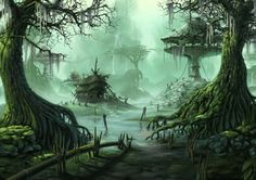Fantasy Village Trees Swamp city wallpaper background