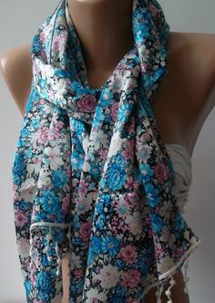 Blue and Flowered / Satin and Elegance Shawl / Scarf by womann,