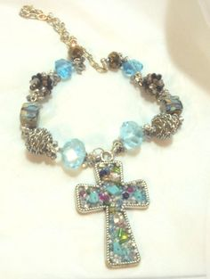 Jeweled Cross Pendant with Sterling Silver Chain, Lampwork, Crystal Beads #cross