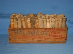 Vtg Clothes Pins Primitive Antique Wood Cheese Box Country Decor 4 Laundry Room!