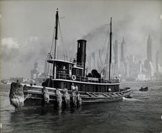 Tugboat and the Manhattan Skyline 1936. From the NYPL.
