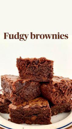 Quick Easy Brownies, Homemade Fudge Brownies, Fudgy Brownies, Homemade Brownie Recipes, Best Brownies, Cocoa Powder Brownies, Cocoa Brownies, Cupcakes, Cake