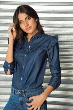 Camisa Manga Larga Azul Denim Ideas, Beautiful Girl Image, Denim Top, Denim Outfit, Girls Image, Asian Fashion, Modest Fashion, Chic, Stylish