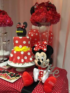 Minnie Mouse Birthday Decorations Genial Mickey Mouse Minnie Mouse Birthday Party Ideas In 2019 Minnie Mouse Birthday Decorations, Minnie Mouse Theme Party, Red Minnie Mouse, Minnie Mouse 1st Birthday, Minnie Mouse Baby Shower, Mickey Mouse Parties, Mickey Party, Red Birthday Party, 3rd Birthday Cakes