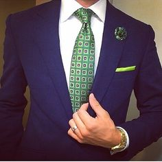 Tailored navy power suit with green tie and pocket square. #MensSuits #Dapper #MensFashion