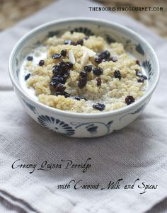 Recipe: Creamy Quinoa Porridge with Coconut Milk and Spices - This makes a satisfying and delicious breakfast that is gluten free and dairy free! --- The Nourishing Gourmet Paleo Breakfast, Breakfast Time, Breakfast Recipes, Breakfast Cereal, Breakfast Ideas, Quinoa Breakfast Bowl, Dairy Free Recipes, Whole Food Recipes, Cooking Recipes