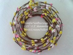 """Pip Berry Candle Ring YELLOW CREAM PINK ~ 2.25"""" - 2.5"""" Diameter Cottage, Country #unbranded #primitivecountrycottage"""