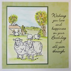 "This Gorgeous handmade card was made by Jenny Mayes using ""Sheep in the Meadow"" Foam Mounted Stamp as seen on Create & Craft on Monday October & It's Your Birthday, Birthday Cards, Birthday Delivery, 21st October, Art Cards, Create And Craft, Sheep, Scenery, Stamps"