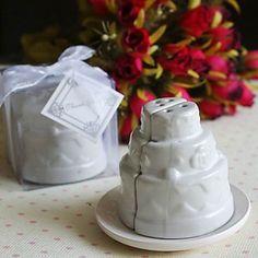 Ceramic Wedding Cake Salt Pepper Shakers 40SET/LOT wedding party favor bridal shower gifts present $148.00