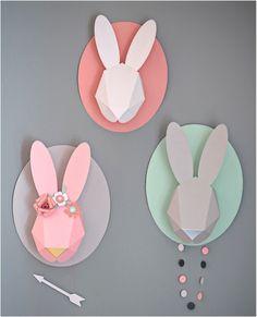 """wall mounted paper animal head rabbit"""