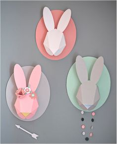 """wall mounted paper animal head rabbit"""
