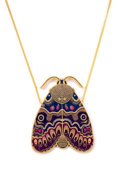 Lily Moth Necklace. Large Moth Statement Necklace