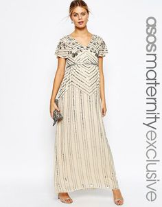 e3b82ab3d71 ASOS Maternity Linear Embellished Maxi Dress at asos.com