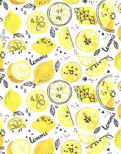 I've had these watercolour and ink lemon sketches for a while. I thought the… I've had these watercolour and ink lemon sketches for a while. I thought they would make a great pattern for RedBubble as they're bright and fun. I really enjoy… Bullet Journal Ideas Pages, Bullet Journal Inspiration, Lemon Drawing, Lemon Art, Posca Art, Watercolor And Ink, Lemon Watercolor, Watercolor Pattern, Mellow Yellow