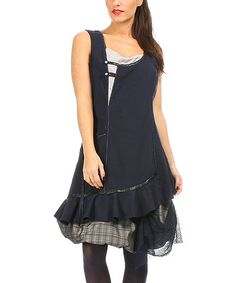 Look what I found on #zulily! Black Ruffle-Trim Layered Sleeveless Dress #zulilyfinds