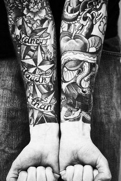 Old school full sleeve tattoo