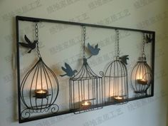 2013 Wrought Iron Home Decor Dove Candle Holders Wall Mounted Display…