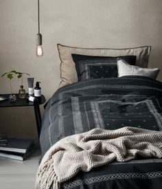 Cotton Percale Duvet Cover Set | Charcoal gray/patterned | H&m home | H&M US