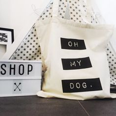 DOG COTTON TOTE BAG  Oh My Dog! How fabulous is this cotton shopping bag? Ideal for your shopping or your books, or even your dogs toys, this