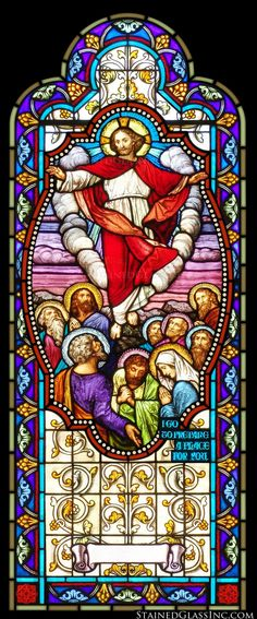 """Arched Ascension"" Religious Stained Glass Window"
