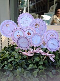 Toppers del Kit de Decoraciones Primera Comunión de Niña ::  Toppers from Girl's First Communion Party Kit