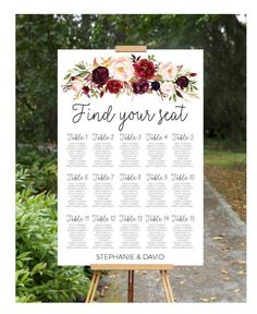 ***PLEASE READ - This listing is for a digital file sent to you as a high quality PDF for you to download and print at your preferred local print shop. YOU WILL NOT RECEIVE A PHYSICAL SIGN, NOTHING WILL BE SHIPPED TO YOU***  Personalized custom wedding seating chart. Tie together the theme of your wedding with this gorgeous sign from the Burgundy Dream Collection  VERY IMPORTANT - Please finalise your guest list prior to purchase. I will be copying and pasting your guests into the template…