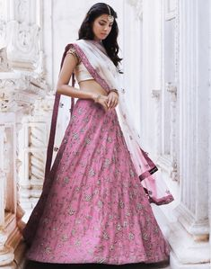 Eternal Grace. Beautiful lavender color lehenga and half white color crop top with net dupatta. Lehenga with hand embroidery work. Email sales@shyamalbhumika.com or text/whatsapp +91-9833520520 for more information. 15 June 2018 Lehenga Crop Top, Half Saree Lehenga, Blue Lehenga, Lehnga Dress, Lehenga Designs Simple, Simple Lehenga, Half Saree Designs, Indian Wedding Outfits, Pakistani Outfits