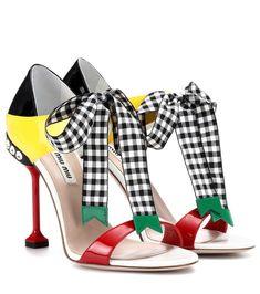 Miu Miu Contrast-panel Patent-leather Sandals In Multicoloured Miu Miu Schuhe, Outfit Stile, Miu Miu Sandals, Shoes Sandals, Creative Shoes, Manolo Blahnik Heels, Leather Sandals, Patent Leather, Colorful Shoes