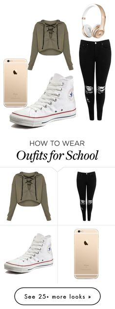 """school"" by mrsbieber123-396 on Polyvore featuring Boohoo and Converse"