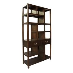 Noir - Ming Bookcase, Hand Rubbed Brown
