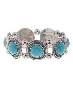 Look at this Fantasy World Jewelry Turquoise & Silvertone Circle Stretch Bracelet on #zulily today!