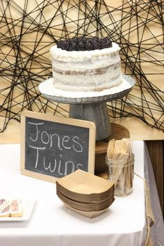 Rustic twin baby shower party cake! See more party planning ideas at CatchMyParty.com!
