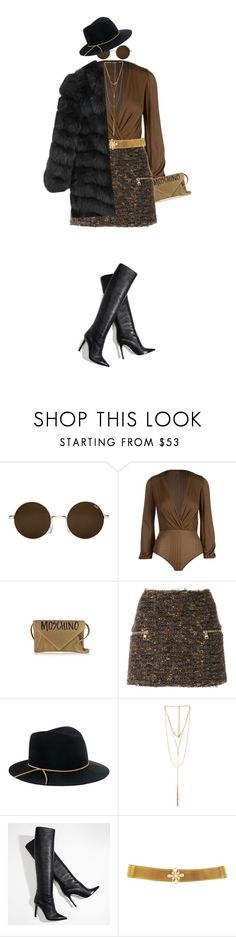 """Girls Night out!"" by prettynposh2 ❤ liked on Polyvore featuring Elisabetta Franchi, Moschino, Balmain, Eugenia Kim, Ettika, Girls, statement and slay"