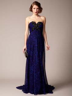 Marchesa Couture Silk Chiffon Embellished Sweetheart Gown