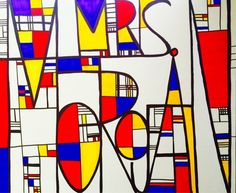 The Lost Sock : Mondrian Name Design  Activity using PRIMARY COLORS