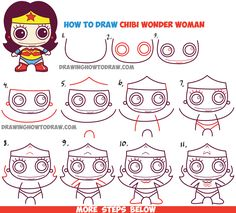 How to Draw Cute Chibi Wonder Woman from DC Comics in Easy Step by Step Drawing…